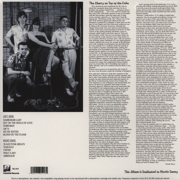 Throbbing Gristle - 'Greatest Hits' liner notes