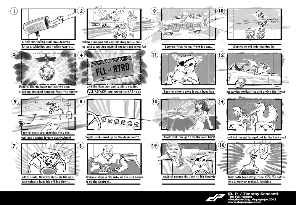 "Timothy Saccenti's storyboard for El-P's ""The Full Retard"" video"