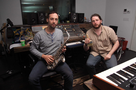 Tim Hecker and Oneohtrix Point Never in the studio