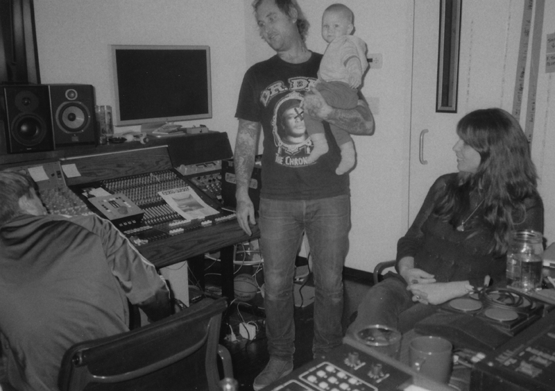 Peaking Lights in the studio with their son Mikko (Photo: Caroline Mort)