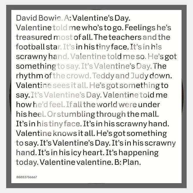 """David Bowie's """"Valentine's Day"""" single"""