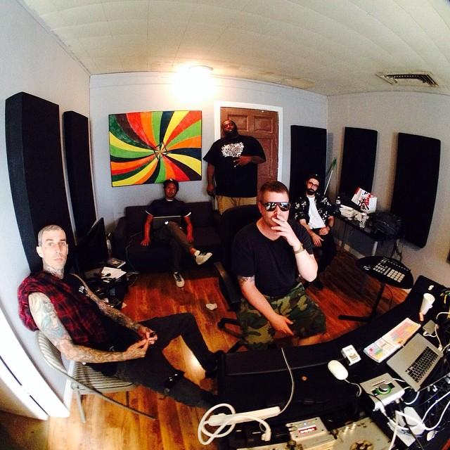 Travis Barker and Zach de La Rocha with Run the Jewels