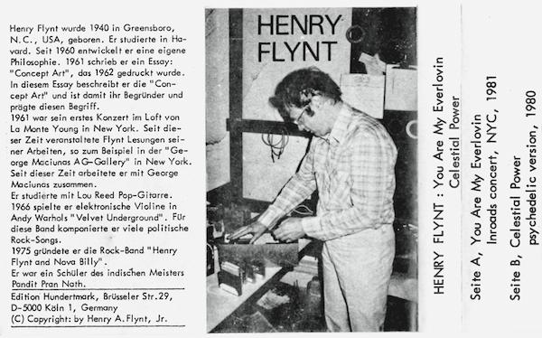Henry Flynt cassette