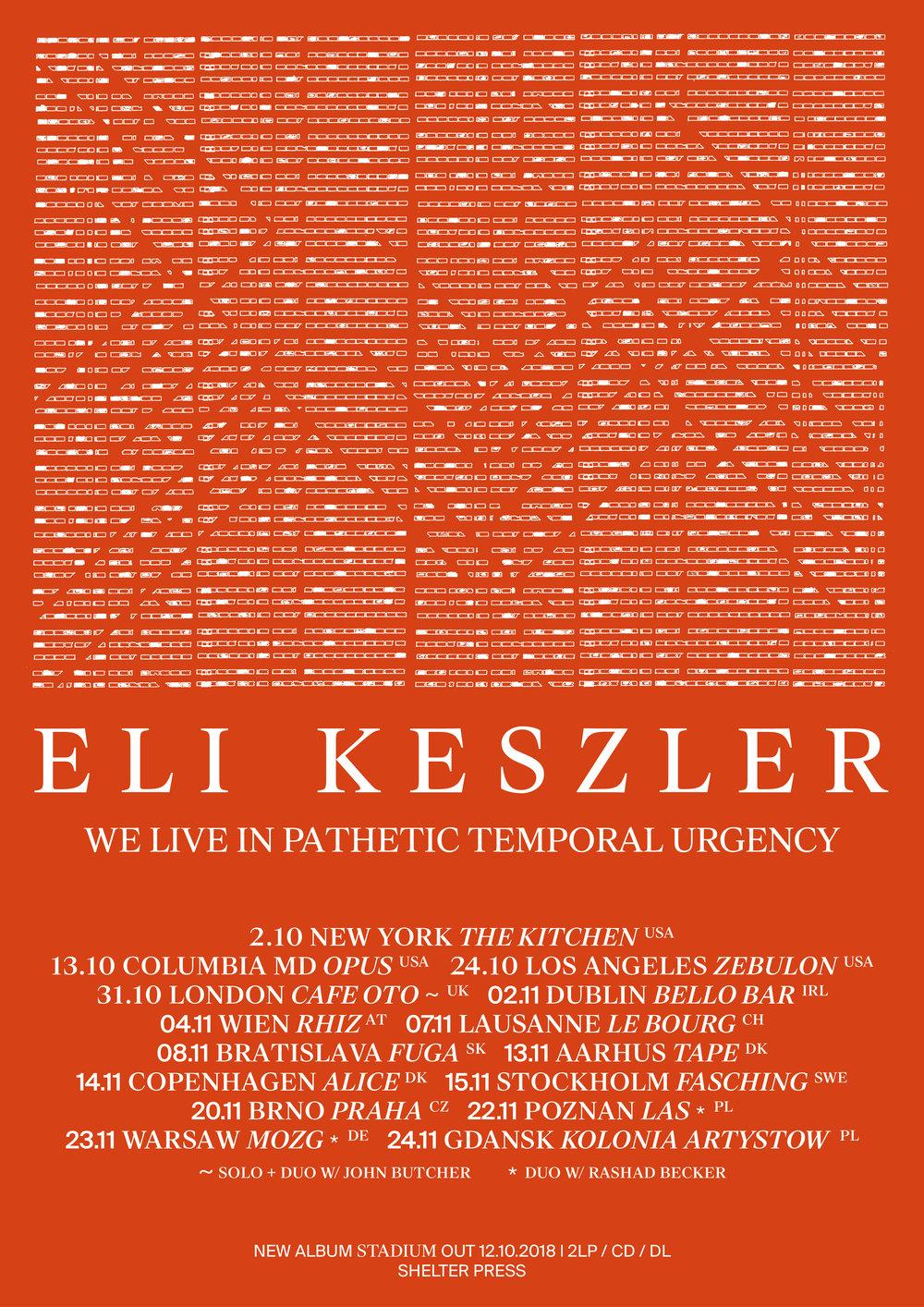 Eli Keszler tour flyer