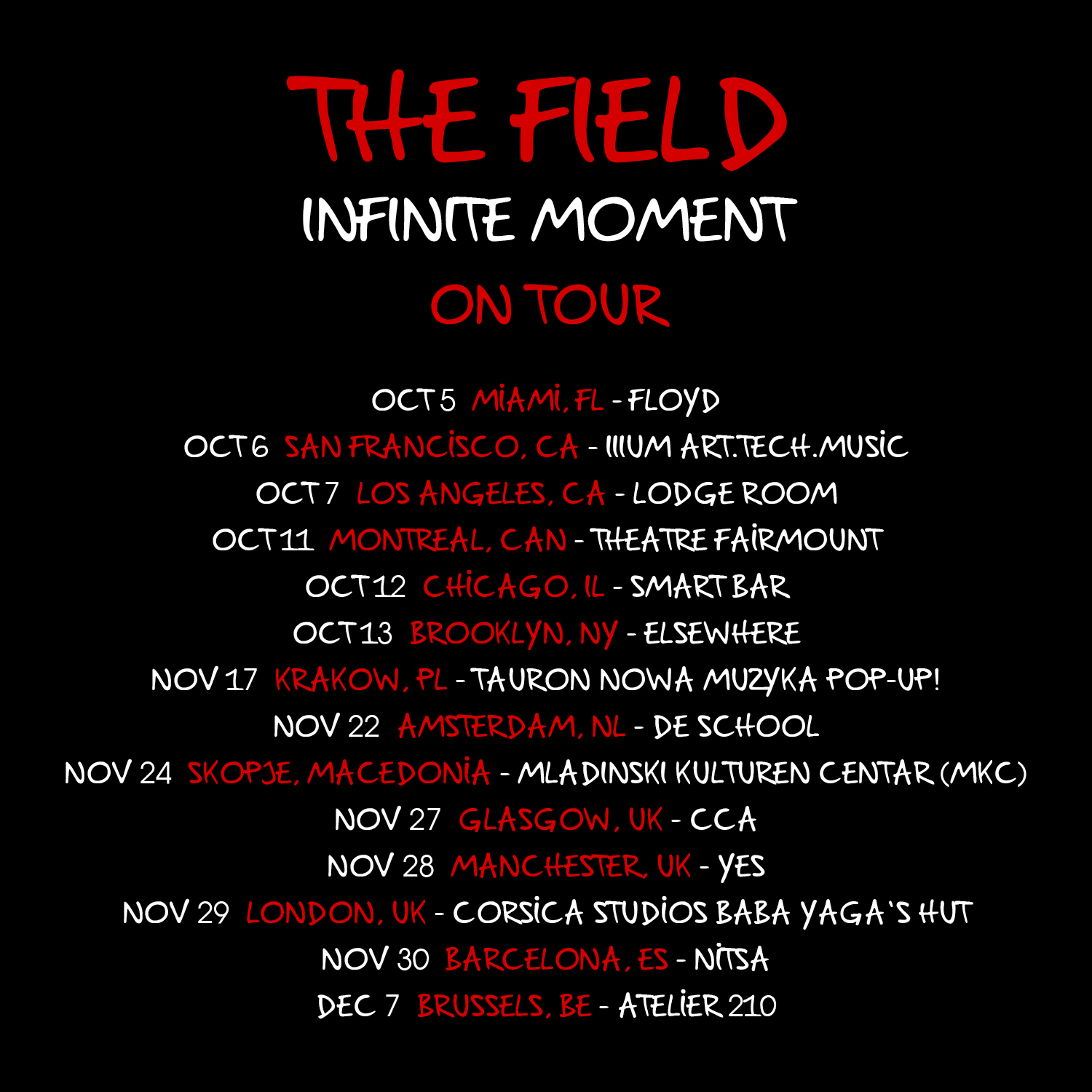 the field tour dates